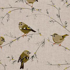 Patterned bird print roller blind with a flock of goldcrest birds